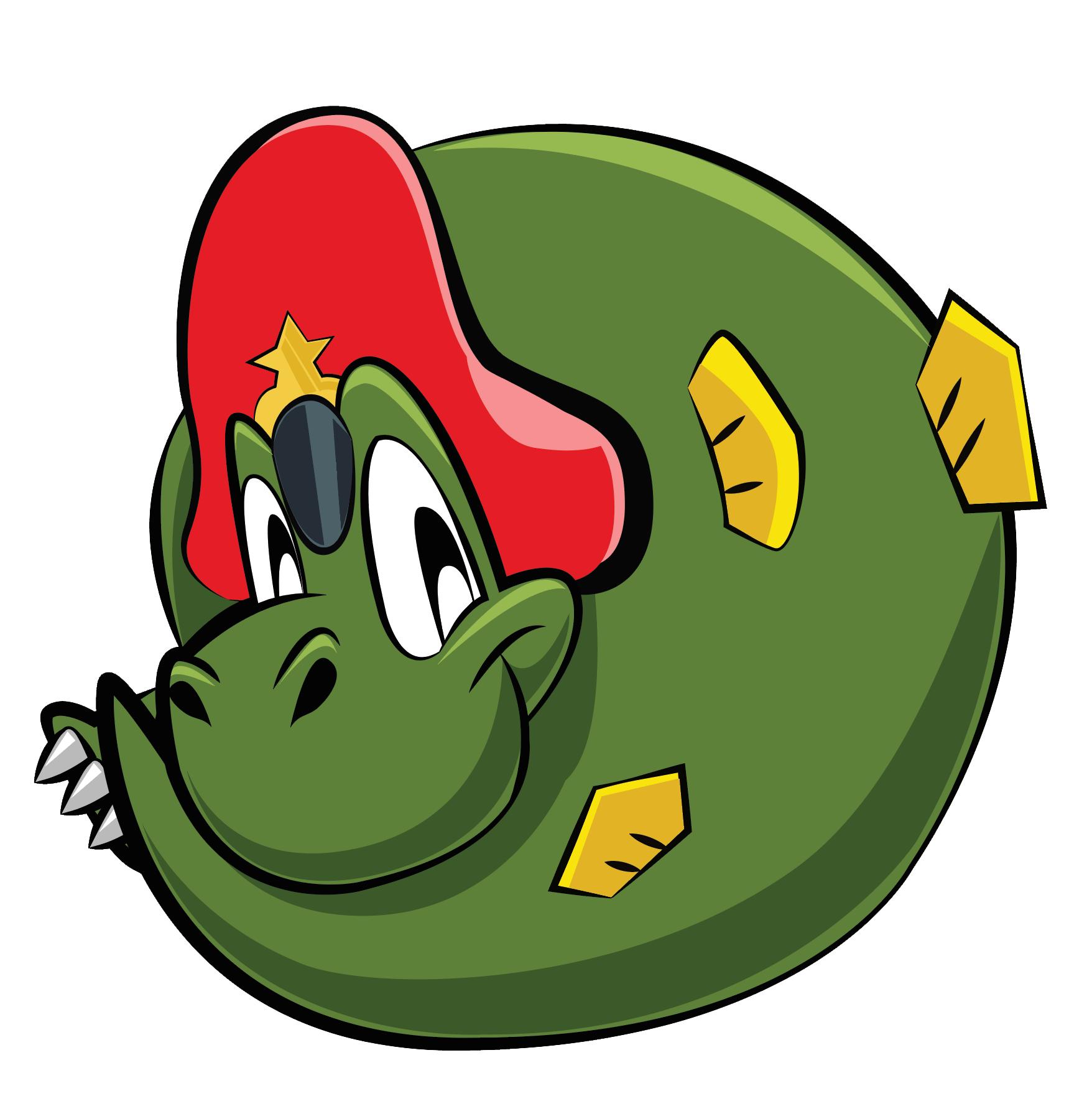 Spiffy - an adorable, peaked cap dinosaur mascot